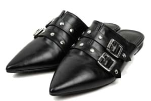leather stud mule