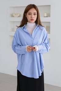 Back button loose-fit shirts