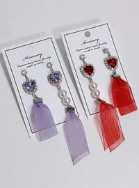 Ruby Heart Pearl Long Earring