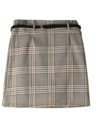 Pepper check belt set skirt