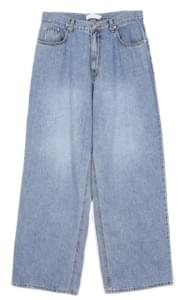 retro wide washing denim pants - men