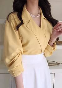 Side button collar blouse