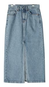 Pitch denim long skirt