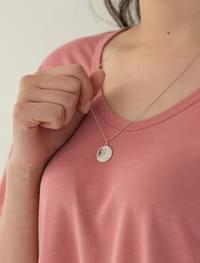 two chain coin point necklace