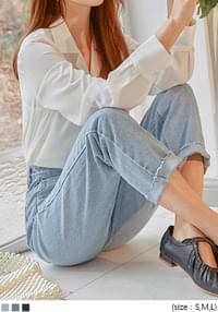 Mid Rise Straight-Cut Jeans