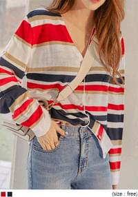 MUDE STRIPE V NECK KNIT CARDIGAN