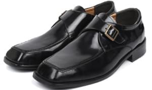 cow hide square monk strap shoes - men