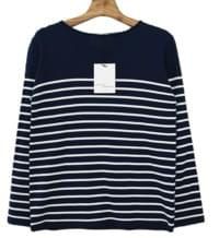 MMMM / Boat Neck Stripe Cotton Knit