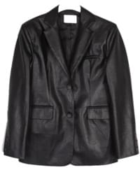 Boxy leather jacket