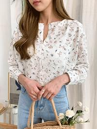 Linen maple flower blouse