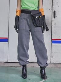ACIDITY - STRAIGHT-FIT STRING PIGMENT PANTS (GRAY)