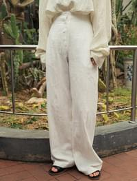 linen button fly wide pants