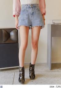 NUMBER POCKET DENIM SHORTS