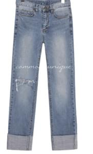 LOTS DAMAGE ROLL UP DENIM PANTS