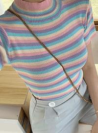 Sugar Candy Stripe Neck Polar Knit