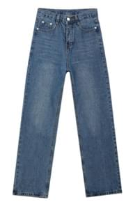 Whisker Wash Straight Cut Jeans