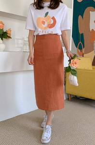 Matte Color Linen 100 Long Skirt