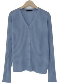 Color button corrugated cardigan (4color)