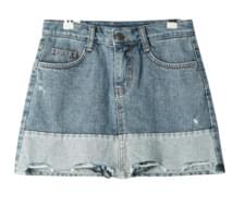 Twin color denim skirt pants