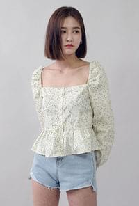 Square neck flower blouse