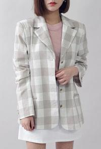 Tone Andon square check jacket