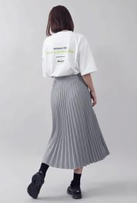 Pleated Long Check Skirt