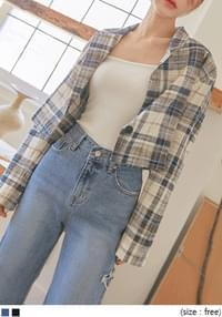 DENTED LINEN CHECK CROP JACKET