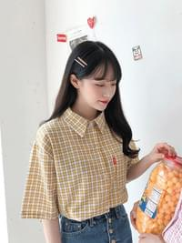 Doremi check crop shirt