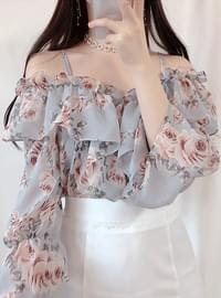 Neo flower off shoulder blouse
