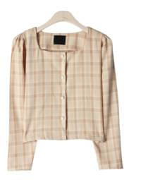 Lauren check pearl blouse
