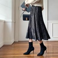 Dot Pleated Long Skirt
