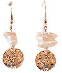 GOLD CIRCLE PEARL DROP EARRING