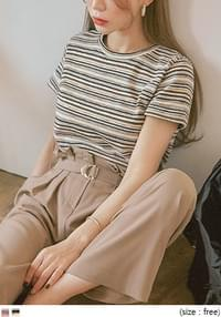 JUICY MIX STRIPE ROUND NECK 1/2 KNIT