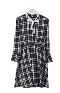 Moring check ribbon dress