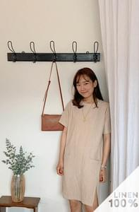 Slit pocket linen dress