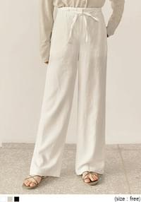 PREA LINEN STRAP WIDE PANTS