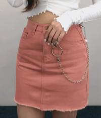 Raw Hem Cotton Mini Skirt