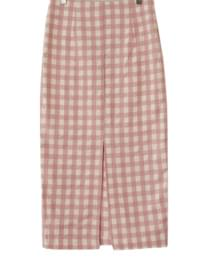 Lemon Ripple Check Long Skirt
