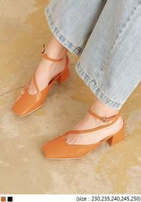 FABBO SQUARE STRAP MIDDLE HEEL