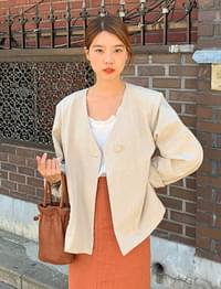 Hide linen collarless jacket_S (size : free)