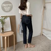 Dark Blue Raw straight pants
