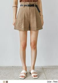 KORI LINEN ROLL UP BELT SHORTS