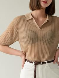 Caraneck See-through Corrugated Half Knit