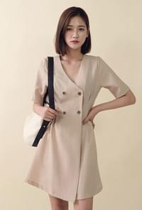4 button pin tuck slim fit dress
