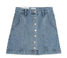 New button denim skirt