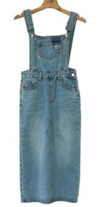 Suspenders denim long dress