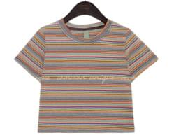 BETIN COLOR MIX STRIPE CROP 1/2 T
