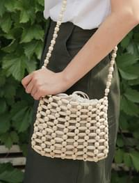 wood bead mini bag