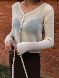 Linen Corrugated See-through Crop Cardigan