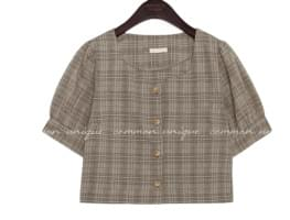 MIRN CHECK PUFF CROP 1/2 BLOUSE